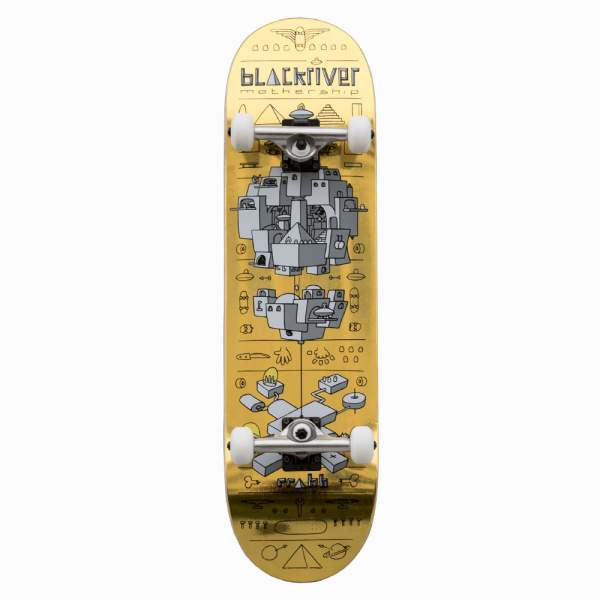 "Blackriver Complete Starter Skateboard ""Mothership Gold"""