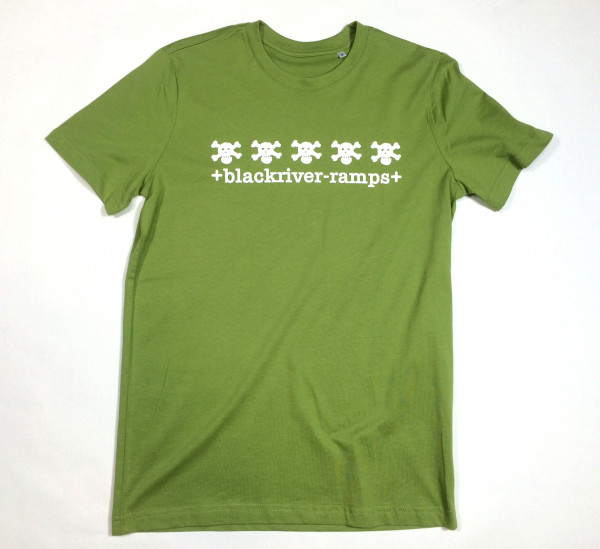 Blackriver T-Shirt, 5 Skulls green/white