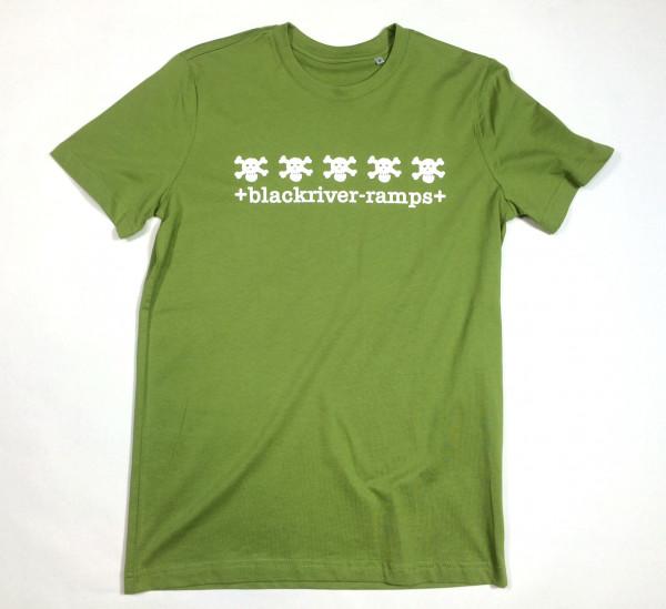 +blackriver-ramps+ T-Shirt, 5 Skulls green/white