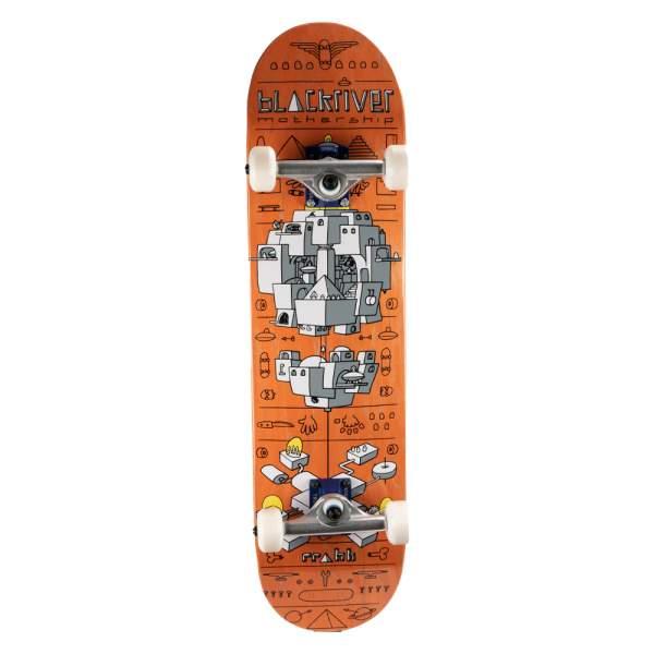 """Blackriver Complete Starter Skateboard """"Mothership Orange"""" Size 7.875"""