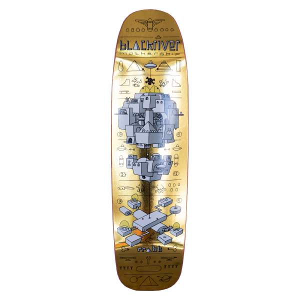 "Blackriver Skateboard Square Shape ""Mothership Gold"" 8.7"